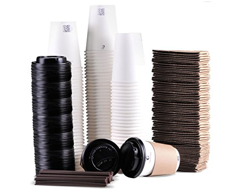 To Go Paper Coffee Cups with Travel Lids Sleeves and Straws 100% Biodegradable & Compostable Pla Eco Friendly Paper Coffee Cups 100 Sets of 12 oz (White)