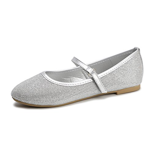 (Hawkwell Mary Jane Bow Ballerina Flat (Toddler/Little Kid/Big Kid),Silver Glitter,12 M)