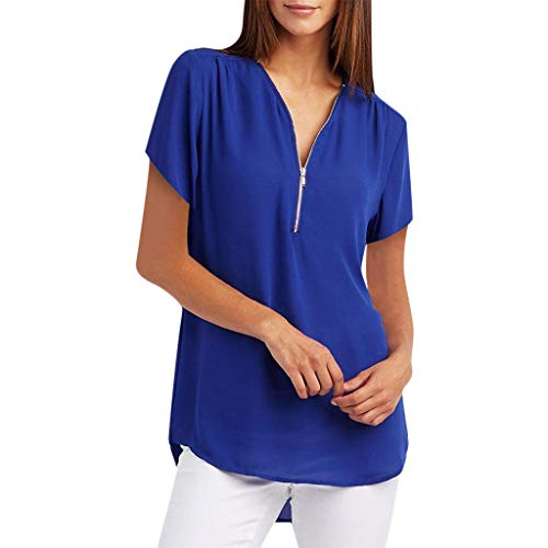 Aunimeifly Women Tunic Zipper Short-Sleeved Shirt Solid Color Large Size Loose Casual Shirt Ladies Blouse Blue