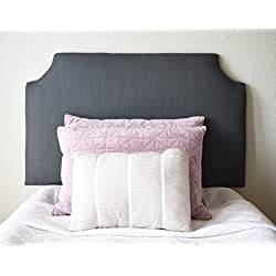 Dorm Headboard, Twin XL, Clipped Corner with Charcoal Grey Linen