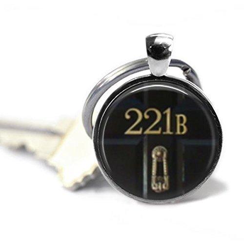 Sherlock Holmes 221B 1 Inch Silver Plated Pendant Keychain
