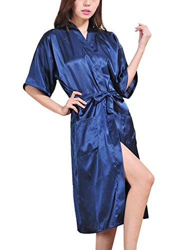 Feoya Pyjamas robe Satin Long Peignoir avec Poches pour Homme Femme - Bleu foncé