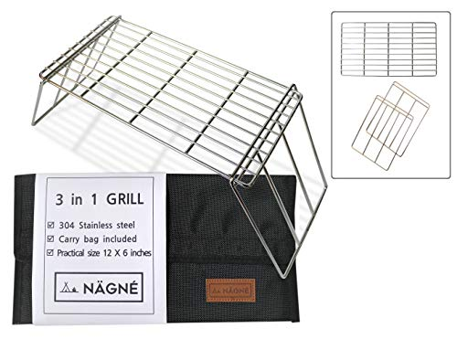 NAGNE – bushcraft backpacker's grill grate set – welded 304 stainless steel – 3 in 1 design – cooking grate, mini table, stand leg can be cooking grill – carry bag included – compact size perfect gear