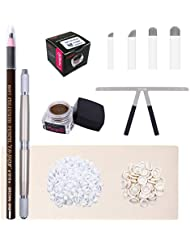 Microblading Kit-BIOMASER Permanent Makeup Tattoo Eyebrow Microblading Manual Pen Set with Blades Eyebrow Ruler Practice Skin Ring Cup Microblading Supplies Pigments for Eyebrows
