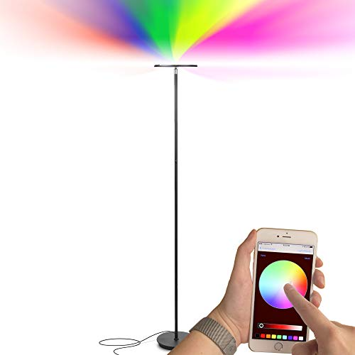 Brightech Kuler Sky - Color Changing Torchiere LED Floor Lamp - Dimmable Light - Remote Control via iOs & Android App - Lamp for Living Rooms, Game Rooms & Bedrooms - Adjustable Pivoting Head - Black - Gold Torchiere Lamp