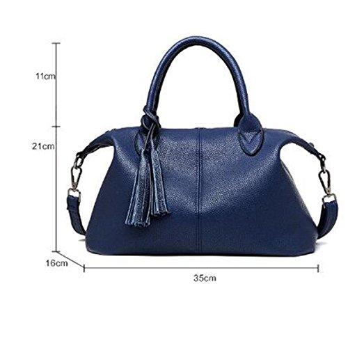 Las Mujeres De Señora Fashion PU Bolso De Cuero Bolsas De Hombro Satchel Top-Handle Bag Black
