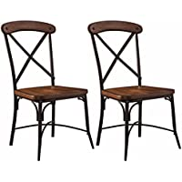 Ashley Furniture Signature Design - Rolena Industrial Dining Room Chair - Crossbar Backs - Set of 2 - Brown