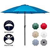 Sunnyglade 9' Patio Umbrella Outdoor Table Umbrella with 8 Sturdy Ribs (Blue)
