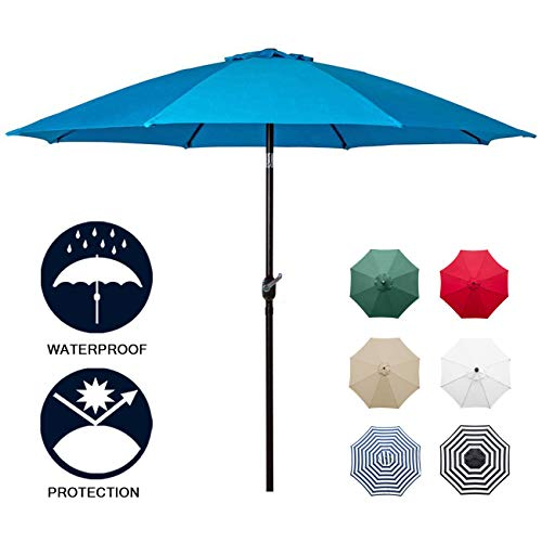 9 Umbrella Base Market (Sunnyglade 9' Patio Umbrella Outdoor Table Umbrella with 8 Sturdy Ribs (Blue))
