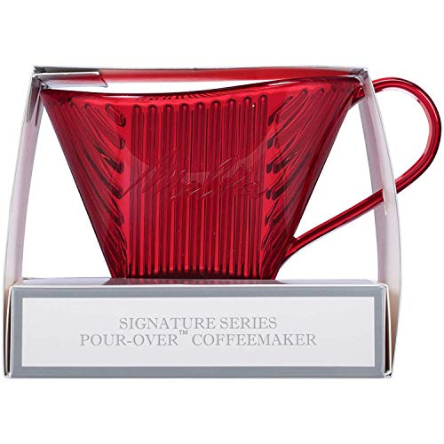 Melitta Signature Series 1 Cup Pour-Over Coffee Brewer, Tritan Red