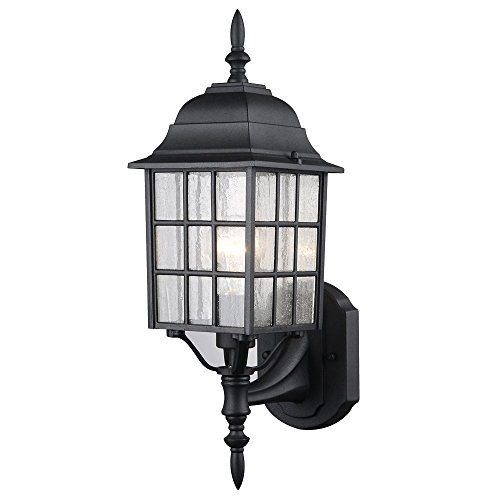 Hardware House 22-9449 Textured Black Outdoor Patio / Porch Wall Mount Exterior Lighting Lantern Fixture with Seedy Glass