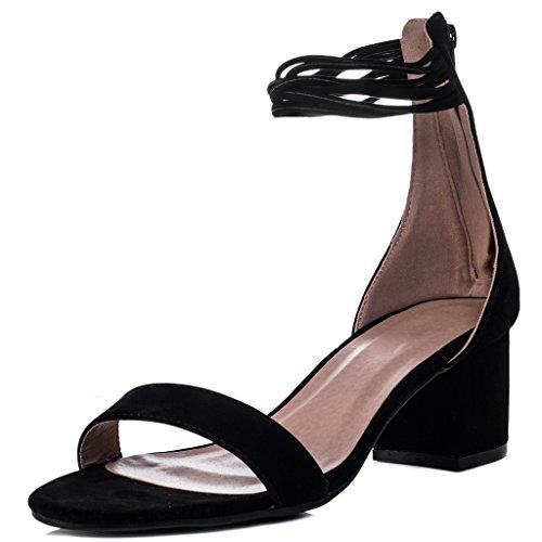 Sandalias Open Zapatos Bloque estilo gamuza de de para SPYLOVEBUY negra Toe Peep mujer AXEL qBxxwT85X