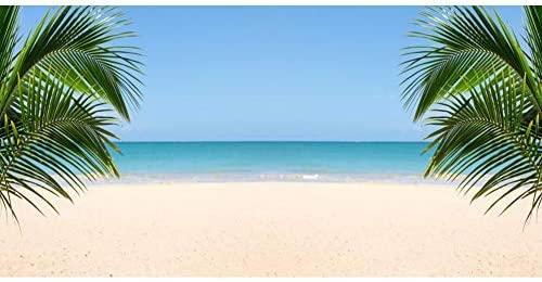 Cartoon Summer Island Backdrop 8x8ft Tropical Forest Mountains Blue Sea Water Island Photography Background Palm Trees Blue Sky Backdrop Children Adults Photos
