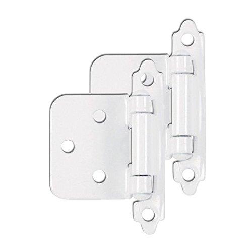 Modket M4310-WT-50 Decorative White Self Closing Face Mount Flush Hinge — 50 Pack (25 Pairs)