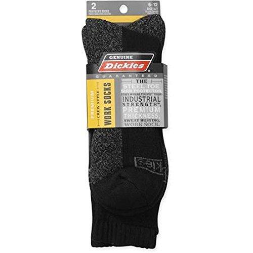 Dickies 2-Pair Mens Premium Crew Style Shin Protector Work Socks - All Colors (Black)