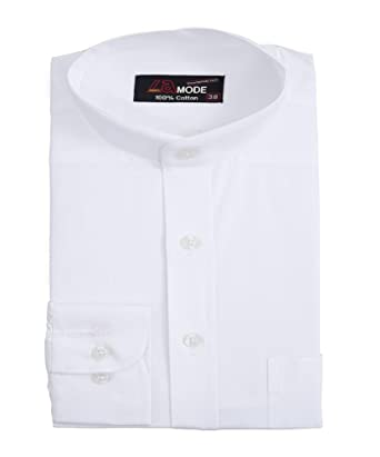 La MODE Men 100% Cotton Chinese Collar White Shirt: Amazon.in ...