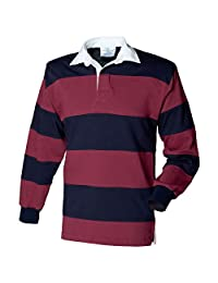 Front Row-Tops-Shirts-Sewn stripe long sleeve rugby shirt-