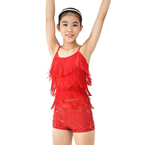 [MiDee Girl's 2 Pieces Tassels Camisole Sequins Short Dance Costume Outfits (MC, Red)] (Dance Costumes For Competition For Adults)