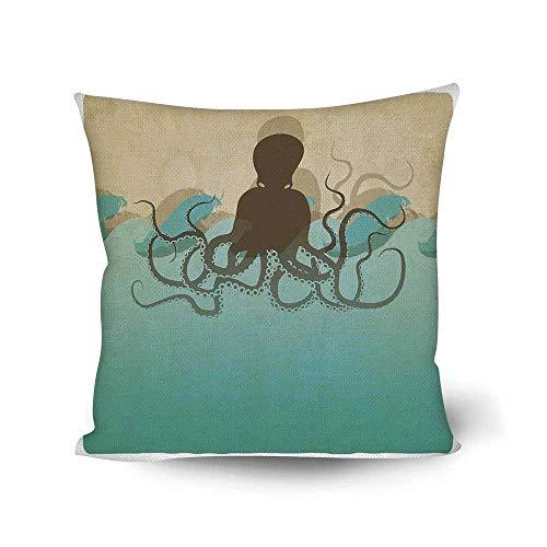 Octopus Decor Comfortable Throw Pillow,Vintage Style Marine Background