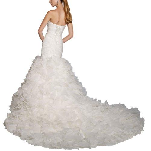 Hochzeitskleider Zug Organza Traegerlos GEORGE Weiß Formale Gericht BRIDE Brautkleider Ix4FRa0