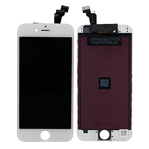 HBJH OEM iPhone 6 Screen Replacement LCD Display Touch Screen Digitizer Frame Assembly Full Set with Free Tools for iPhone 6 (4.7 inch) (White)