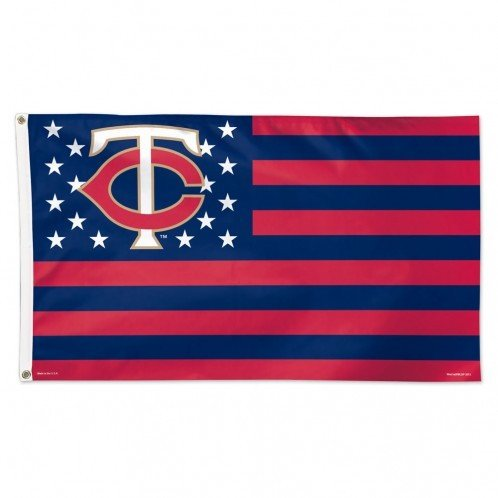 Minnesota Twins Flag 3x5 Deluxe Style Stars and Stripes Design - Licensed Minnesota Twins (Minnesota Star Stripes)