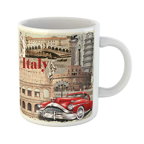 Emvency Funny Coffee Mug Collage Italy Vintage Italian Travel Venice Rome Europe Retro 1950S 11 Oz Ceramic Coffee Mug Tea Cup Best Gift Or Souvenir