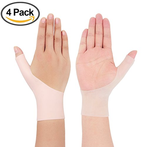 Wrist Thumb Support (4 Piece Gel Thumb Brace Wrist Support Braces for Right & Lift Hand Relieve Wrist & Thumb Pain For Arthritis, Rheumatism, Carpal Tunnel, Tendinitis&More(1Pair Nude Color 1Pair Translucent))