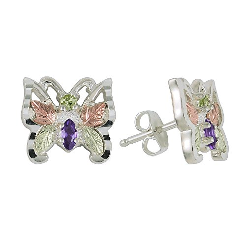 Black Hills Silver Butterfly Stud Earrings with Peridot and Amethyst (Black Hills Gold Butterfly Earrings)