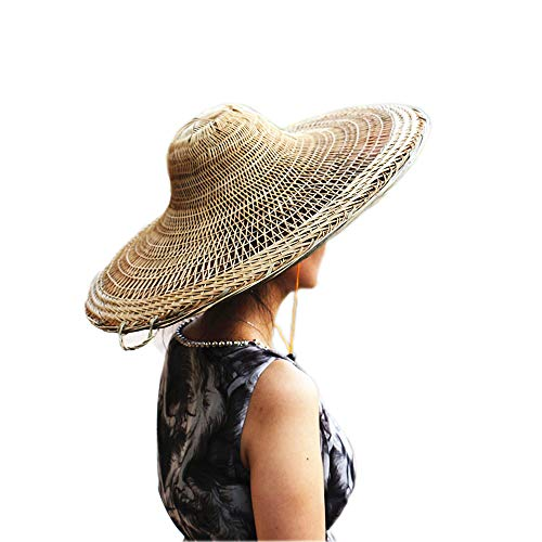 Sunny Hill China Sichuan Traditional Hand-Woven Bamboo Hat with Palm Interlining (Dia.21Inch) -