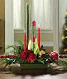 Christmas Flowers - Christmas Candle & Rose Centerpiece