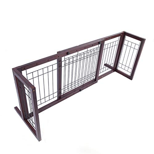 Baby Safety Fence Dog Cat Barrier Wide Gate 4 Pieces Board Adjustable Pine Rail Door Bady Walk Free Standing Wooden Garden ()