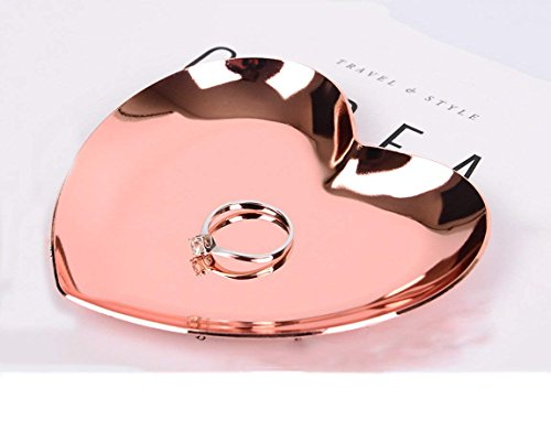 Owlgift Heart-Shaped Small Jewelry Tray, Ring Stainless Steel Dish, Earrings Trinket Pallet, 3.6 x 3.4 Inches, Bronze