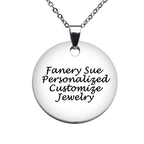 Fanery Sue Custom Engraved Name Personalized Any Word Round Dog Tag ID Pendant Necklace W/24 inch Chain,Jewelry Box,Keyring(Small)
