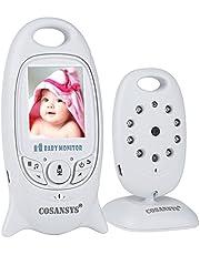 Babyphone mit Kamera COSANSYS Baby Monitor Video Wireless Babyphone 2 Zoll LCD 2.4GHz Digital Baby Überwachung Digitalkamera mit Temperatursensor Schlaflieder Nachtsicht