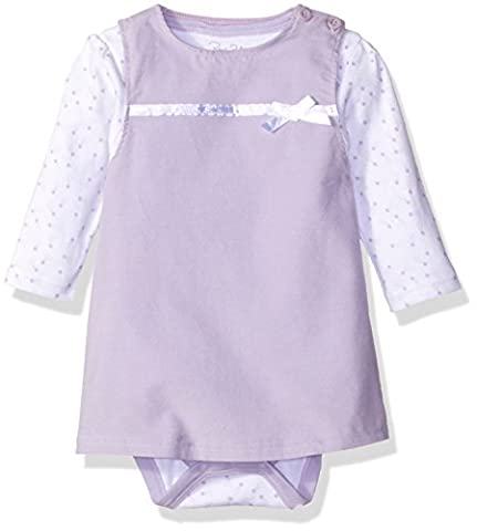 Rene Rofe Baby Baby Girls' 2 Piece Corduroy Jumper Set with Lap Shoulder Longsleeve Bodysuit, Light Purple Shooting Stars, 18 - Corduroy Jumper Dress Set