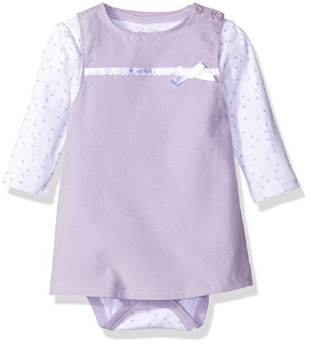 3 Piece Long Sleeve Jumper - Rene Rofe Baby Baby Girls' 2 Piece Corduroy Jumper Set with Lap Shoulder Longsleeve Bodysuit, Light Purple Shooting Stars, 3-6 Months