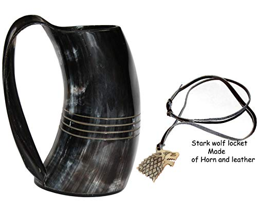 VIKING DRINKING HORN MUG Handcrafted Ox Cup Goblet - Drink Mead & Beer Like Game of Thrones Heroes With This Large Ale Stein - Great Craftsmanship A Perfect Present For Real Men