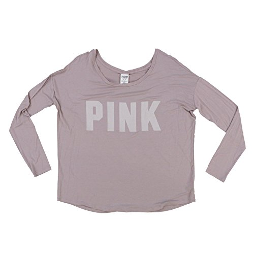 - Victoria's Secret Pink Long Sleeve Lightweight Graphic T-Shirt (M, Taupe)