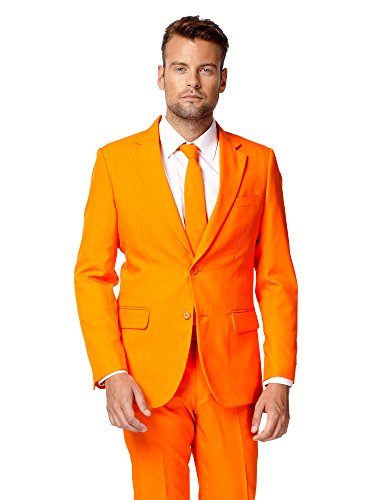 OppoSuits Men's Party Costume Suit, Orange, 48 -