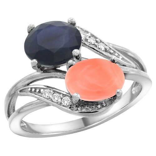 (10K White Gold Diamond Blue Sapphire & Coral 2-stone Ring Oval 8x6mm, size 10)