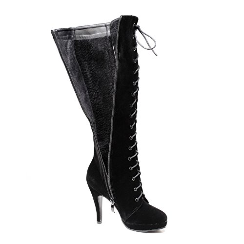 getmorebeauty Suede Black Rock Knee Heel Womens Up High Boots Lace Buckle Boots High Zipped rqCrxwUO