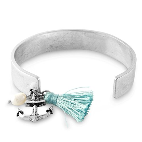 Antiqued Silver Tone Nothing Is Impossible Tassel Cuff Bracelet with Anchor Charm