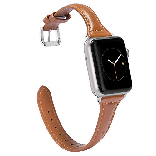 Wearlizer Brown Slim Leather Compatible with Apple Watch Band 38mm 40mm iWatch Womens Mens Sport Strap Wristband Replacement Cool New Bracelet with Silver Metal Buckle Clasp Series 4 3 2 1 Edition