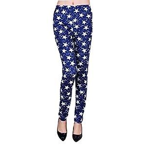 IRELIA Womens Best Printed Patterned Leggings Navy Stars 4(S)-12(L) Long