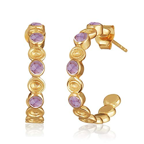 The Silver Sun Collections Melinda Maria Penelope Mini Hoops with Amethyst and 18k Gold Over Base Metal. ()