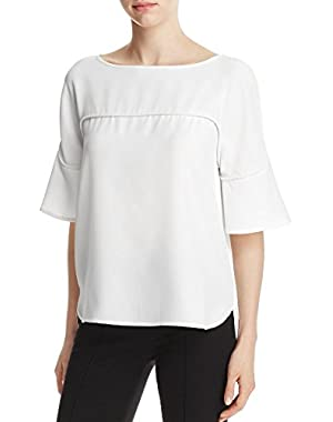 Womens Hi-Low Crepe Blouse