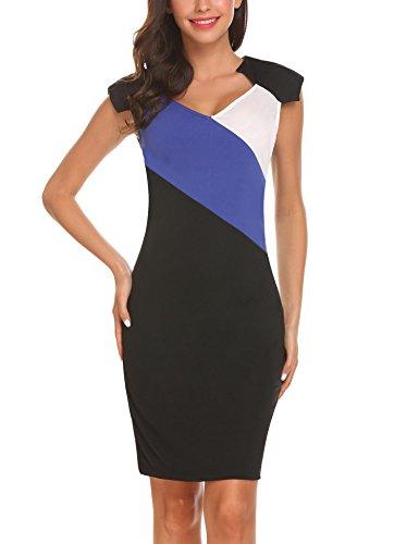 SE MIU Women's Vintage Colorblock Career Bodycon Dress Black -