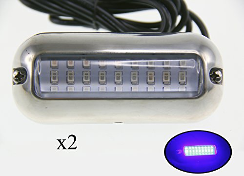 Pactrade Marine 2PCS Pontoon Boat Blue 27 LED Underwater Light S.S 316 Housing