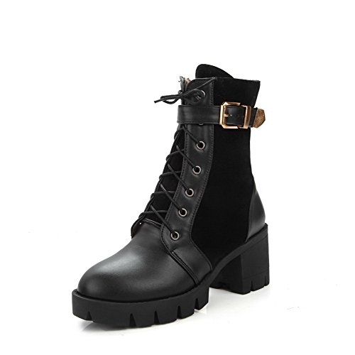 Women's Black Heels Closed Round Materials Low Allhqfashion Top Kitten Blend Toe Solid Boots gqR74fd
